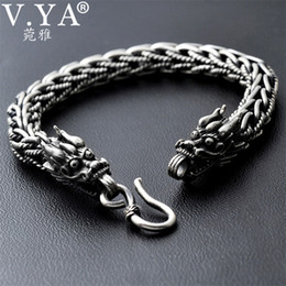 sterling silver dragon bracelets NZ - V.ya 8mm Dragon Head Bracelet 925 Sterling Silver 20-21cm Hand Link Chain Bangle Solid Thai Silver Bracelets Male Men Jewelry C19021501