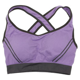 Wholesale Clothing For Yoga Pants UK - Women Seamless Sports Tanks Top Vest Bra Push up For Yoga Sports Sleep Running Fitness Clothing Purple M