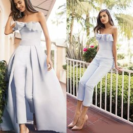 Training Jumpsuits Australia - Elegant Women Jumpsuits Dresses Evening Party Wear With Detachable Train Light Blue Bow Strapless Satin Overskirt Strapless Long Prom Gowns