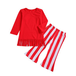 $enCountryForm.capitalKeyWord UK - 2019 Toddler Baby Girls Red Tassel T Shirt Tops + girls Striped Long Flare Pants 2Pcs Outfits Kids Clothing