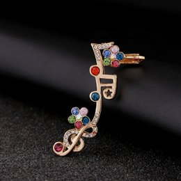 unique best friend jewelry UK - Unique Music Note Crystal Ear Cuff Fashion Colorful Rhinestone Flowers Piercing Jewelry Best Friend Gift Clip Earrings