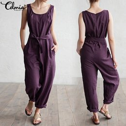 Women S Cotton Jumpsuits Australia - Celmia 2019 Women Jumpsuits Casual Loose Sleeveless Rompers Cotton Linen Playsuits O Neck Belt Solid Plus Size Overalls Palazzo Y19060501
