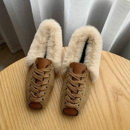 Women furry boots online shopping - Fur Boots Shoes Woman Mules Women s Furry Boots Winter Warm Women Shoes Fashion Flat Women