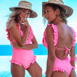 1d7306054fb81 Sexy Women One-Piece Swimsuit Solid Wavy Sleeve Open Back Bodysuit Plus  Size Swimwear High Waist Bathing Suit Monokini J190207