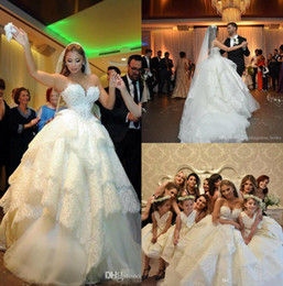 strapless full skirted wedding dress NZ - Luxury Full Lace Ball Gown Wedding Dresses Sweetheart Pearls Beaded Tiered Skirt Bridal Gowns Strapless Puffy Princess Church Wedding Dress