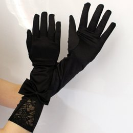 Wholesale Women s pair Lace Satin Black Long Prom Evening Clothes Bow Gloves Women Bride Gloves Accessories Gift Free Size AuraPicco