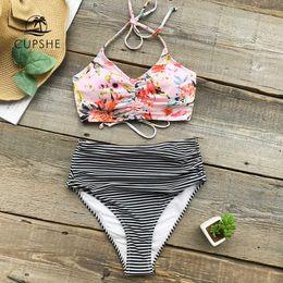 $enCountryForm.capitalKeyWord Australia - Cupshe Flower Print Tank Bikini Set Women Lace Up High Waisted Striped Two Piece Swimwear 2019 Beach New Shirring Bath Swimsuits Y19062801