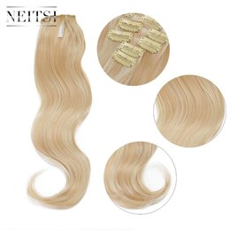 Discount synthetic 613 curly hair - Neitsi 22'' 7Pcs Set Curly Clip in Synthetic Hair Extensions P27-613#