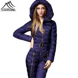 Snow women Ski Suit online shopping - SAENSHING One Piece Mountain Skiing Suit Women Warm Windproof Ski Jacket Snowboarding Suits Breathable Ski Jumpsuit Snow Suits