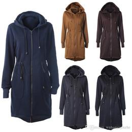 $enCountryForm.capitalKeyWord NZ - Hot Sale Women 's Long Hoodies Sweatshirt Drawstring Waist Hood Zipper long-sleeve Pocket Long Jacket Coat Plus Size CL287