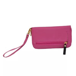 Promotional Nylon Bag UK - Solid Color Wallet Promotional women long wallet lady purse multifunctional clutch bag Nylon card holders wallets Zipper with Strap