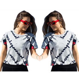 794d2a5027 Couple t shirt Collar online shopping - Summer Shirts Letters Digital  Printing Pure Color Round Collar