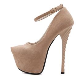 c62f8560cfe7 Shoes POADISFOO Women's Super high Heels Night Club Pumps 16cm Super High Heel  Waterproof Platform Round Head Shallow qf9969-2-CWF