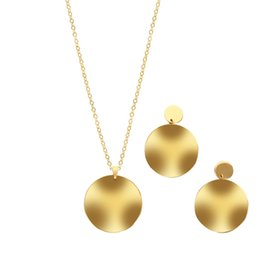 wholesale stainless steel necklace sets UK - Simple Fashion Women Big Round Earrings Necklaces Jewelry Sets Sparkle Gold Plated Anti-allergic Stainless Steel Earring Necklace