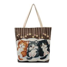 Cute Canvas Handbags Australia - good quality Cute Cats Print Canvas Shoulder Bag Women Large Capacity Embroidery Handbag Female Shopping Bag Summer Beach Bag Lady