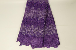 purple cord lace fabric 2019 - African Purple Laces Fabrics Embroidered Nigerian 3D French Cord Lace Fabric Beaded High-quality African French Net Lace