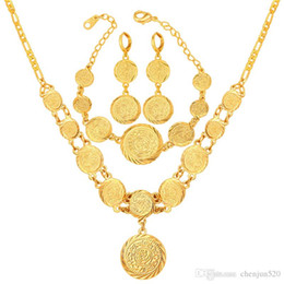 indian gold coins Australia - Women 18K Gold Plated Muslim Symbol Coin Beaded Necklace Bracelet Earrings Set Necklace Earring Bracelet Set