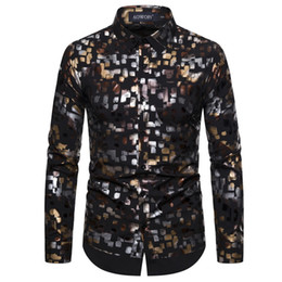 mens shiny shirt Canada - Floral Bronzing Men Shirt Luxury Shiny Black Mens Dress Shirts Fashion Casual Mens Party Shirts Dance Prom Tuxedo Shirt Men XXL