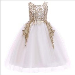 Chinese  1pcs 2019 Girls Gold Embroidered Princess Dress baby girl designer clothes boutique clothing mermaid prom dresses Formal Gowns Wedding Dress manufacturers