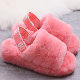Straw flat flip flopS online shopping - 2019 new women s shoes Australia Fluff Yeah Slide Indoor Slippers designer brand casual shoes Flip Flops size