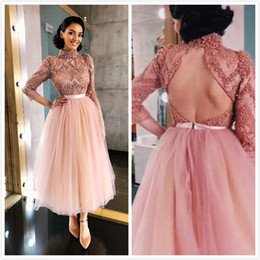 $enCountryForm.capitalKeyWord Australia - Luxurious 50's Backless Sexy 2019 African Dubai Evening Dresses High Neck Beaded Crystals Lace Prom Dresses Tea Length Formal Party Gowns