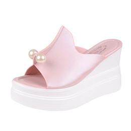 $enCountryForm.capitalKeyWord NZ - MUQGEW String Bead Women's Ladies Slippers Thick-Bottom Solid Pearl Waterproof Wedge Sandals Shoes 35-40 #1211