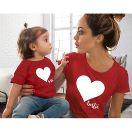 $enCountryForm.capitalKeyWord Australia - Family Matching Outfits Mother And Daughter Clothes mommy and me clothes Heart Printed Cotton T-Shirt Cute Tops lovely Blouse