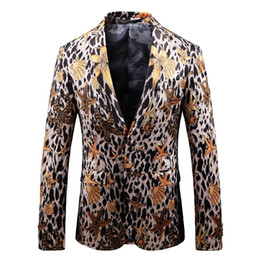 Seas Suits Australia - New Fashion Sea Creature Leopard Printing Blazer Masculino Casual Dress Suit Coat Plus Size Slim Fit Men Blazer Jacket Business
