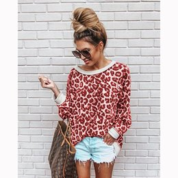 sexy ladies hoodies Australia - Sexy Leopard Long Sleeve O Neck Women Sweatshirts Loose Colorful Womens Tops Fashion Autumn Ladies Hoodies
