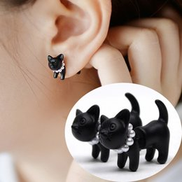 $enCountryForm.capitalKeyWord Australia - Lovely Cartoon Cat Cute Stud Earrings 3D Black Color Animal Cat Pearl Ear Piercing Jewelry for Party Woman Gift