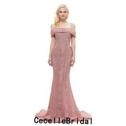 $enCountryForm.capitalKeyWord UK - 2019 Dusty Pink Mermaid Lace Long Luxury Evening Dresses Off the Shoulder Vintage Lace Women Formal Evening Wear Red Carpet Dress