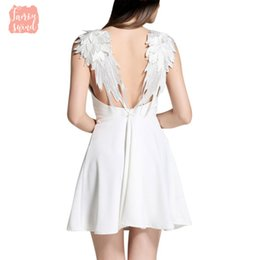 angel wing dresses Australia - Dresses Summer De Playa Lace Angel Vestidos Wings Dress Casual Slim Backless Beach Women Spaghetti Strap Vestidos