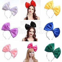Headbands Bow Australia - Fashion Super large bowknot pure color big bow bowknot Cloth Headband women Hair hoop Headbands 4753