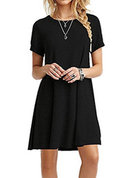 $enCountryForm.capitalKeyWord NZ - Sumtory Women Short Sleeve T Shirt Dress Plain Casual Swing Dresses