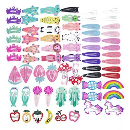 hair clip animals Australia - 30-68Pcs set Cute Children Headwear set Girls Print Painting Hair Clips Metal Princess Hairpin Cartoon Animals Hair