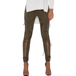 Laced Black Leggings UK - Articat Suede Lace Up Pants Women Bandage Leggings 2019 New Autumn Slim High Waist Bodycon Pencil Pants Trousers Pantalon Mujer