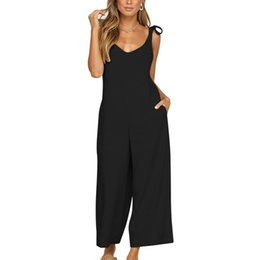 Women's Clothing Womens Casual Striped Sling Jumpsuit Large Size Loose V-neck Long Sleeveless Long Trousers Playsuit Casual Vintage Loose 2019