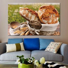 Painting Basket NZ - canvas print painting basket bread cereals ears napkin modern home decor
