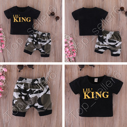 baby boys tees Australia - SALE Baby Two Piece Set Letters Black T-shirts Camouflage Shorts Boys Tops Tee Elastic Waist Short Trousers Kids Clothing Set 2020 CZ312
