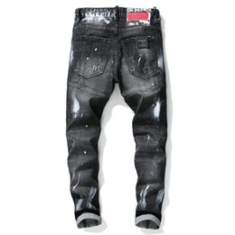 p painting Canada - Autumn And Winter New Style Tattered Paint Splattered Joint Men Slim Fit Elasticity Washing Jeans Black And White with Pattern P