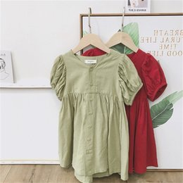 children straight gown styles UK - New INS Toddler Little Girls Dresses Summer Puff Short Sleeve Front Buttons Lovely Red Green Cotton Children Girls Fashion Princess Dress
