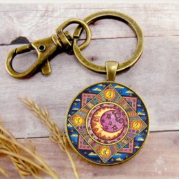 sun moon ring UK - Retro Sun Moon Star Key Ring Key Chain Key Buckle Pendant Birthday Festival Anniversary Gift Jewelry Accessories