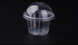 100 unids Clear Pudding Cup Tazas de Plástico Desechables Tapa Pequeños Recipientes de Plástico Caja de Postre Fiesta de Cumpleaños de Boda Suministros en venta