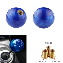 gear types NZ - Pearl Shift Knob Gear Knob Blue Ball Type for AT MT Shifter 3 Types Adapters Auto Styling Cool Funny Automobile Acessories Popular Hit Car