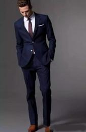 Navy Suit Fashion Australia - Custom Made Dark Navy Blue Men Suit Fashion Groom Suit Wedding Suits For Men Slim Fit Groom Tuxedos For Best Man(Jacket+Pants)