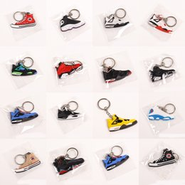 sneakers bag Canada - DHL Shipping Mini Silicone Sneaker Keychain Car Jewelry Gift Key Holder Bag Charm Accessories Basketball Shoes Key Chains X328FZ