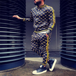 Wholesale male sweatshirts for sale – custom New Colorful Plaid Men Casual Zipper Set Autumn Tracksuit Set Male Sweatshirt Pocket Fashion Jackets Men Tracksuit Sets Mens