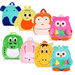 Discount plush ladybug - Multi-function Kids Cartoon Shoulders 17 Design Toy Plush Duckling Ladybug Dinosaur School Bag Baby Owl Zipper Backpack
