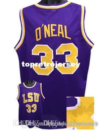 61bd5392164 Factory Outlet Cheap custom  33 SHAQUILLE O NEAL LSU Tigers Basketball  Jerseys Purple yellow Stitched Customized Any Name And Number Jersey