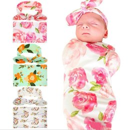$enCountryForm.capitalKeyWord Australia - 2019 Infant baby swaddle Rabbit Ear Headband Set Printed blankets Newborn Photographed Wrap Receiving Blanket Bedding Sleep Sack